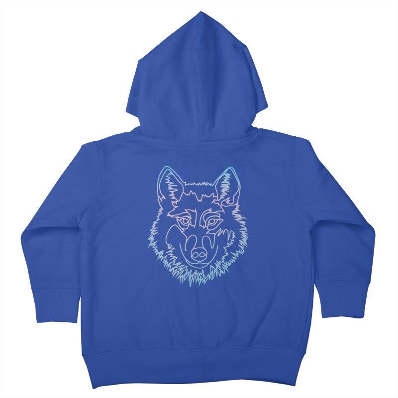Vector wolf in one line Kids Toddler Zip-Up Hoody by Beatrizxe