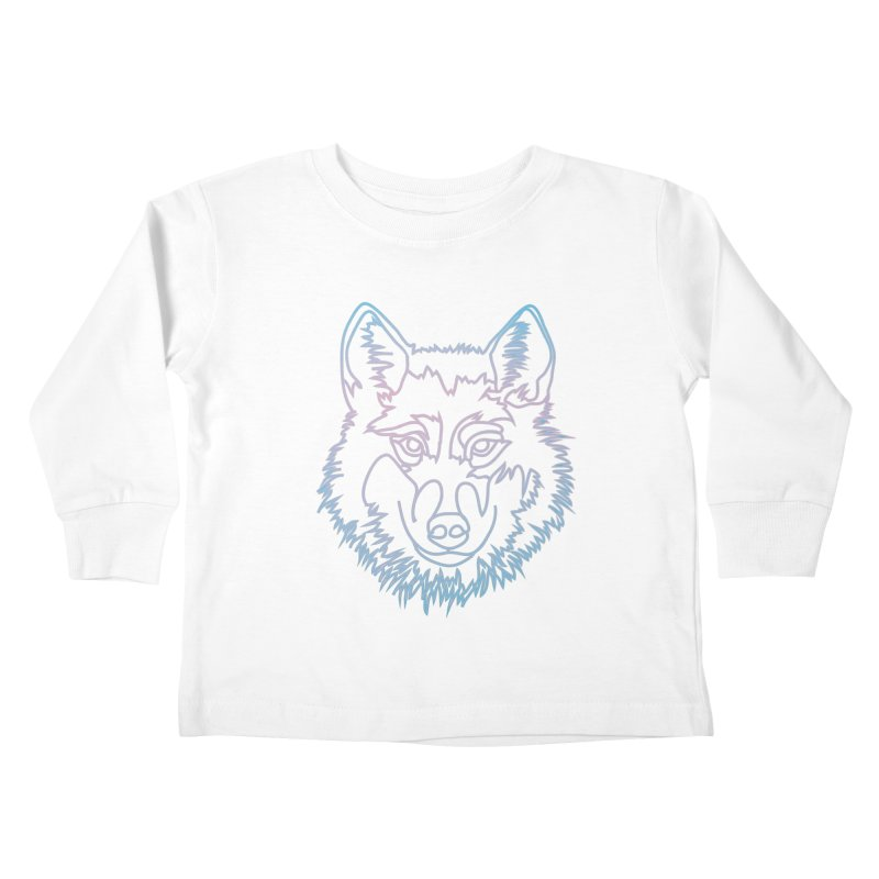 Vector wolf in one line Kids Toddler Longsleeve T-Shirt by Beatrizxe