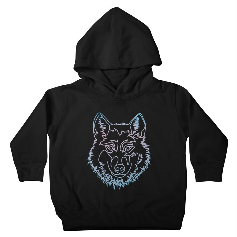 Vector wolf in one line Kids Toddler Pullover Hoody by Beatrizxe
