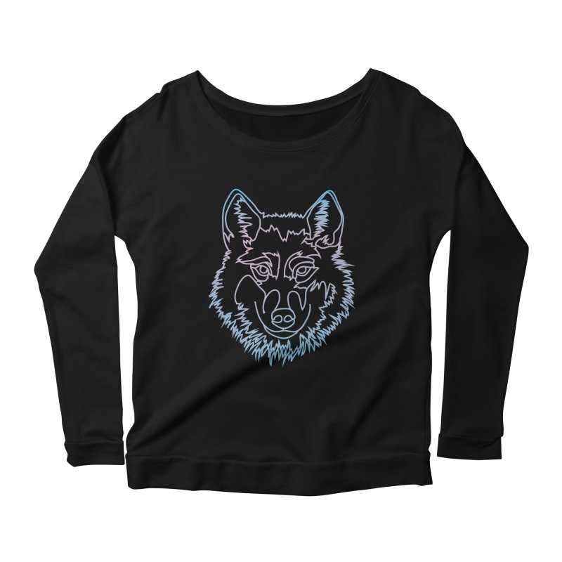 Vector wolf in one line Women's Scoop Neck Longsleeve T-Shirt by Beatrizxe