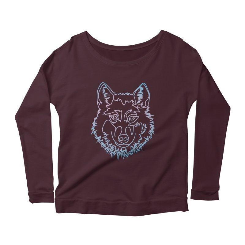 Vector wolf in one line Women's Scoop Neck Longsleeve T-Shirt by Beatrizxe