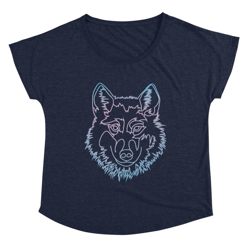 Vector wolf in one line Women's Dolman Scoop Neck by Beatrizxe