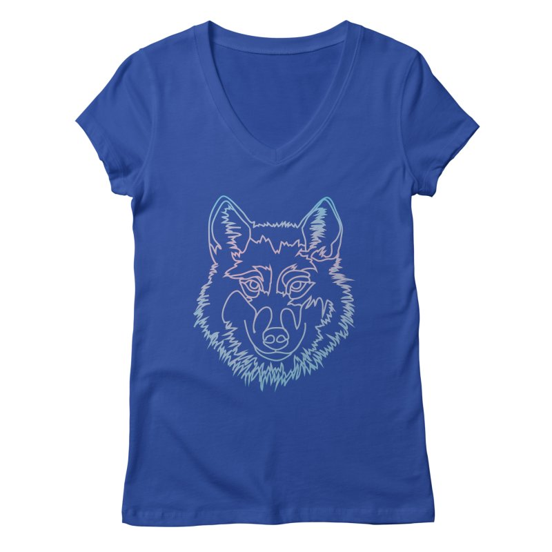 Vector wolf in one line Women's Regular V-Neck by Beatrizxe