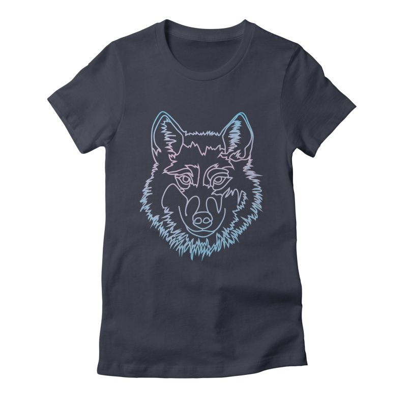 Vector wolf in one line Women's Fitted T-Shirt by Beatrizxe