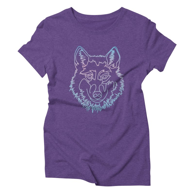 Vector wolf in one line Women's Triblend T-Shirt by Beatrizxe