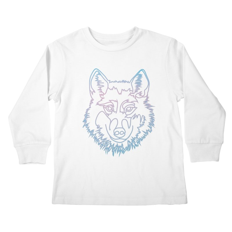 Vector wolf in one line Kids Longsleeve T-Shirt by Beatrizxe