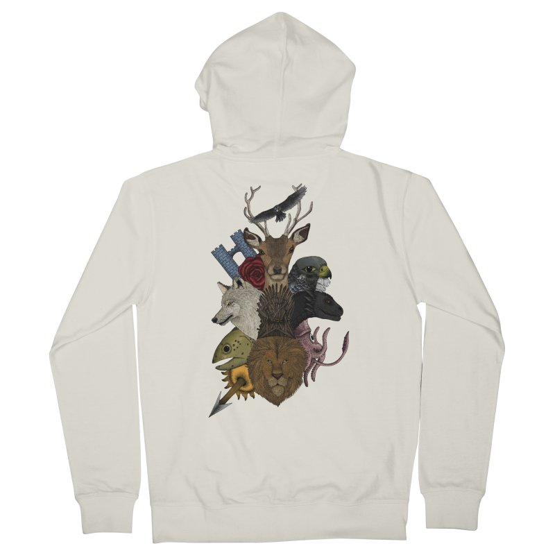 Game of animals. Color Version in Men's French Terry Zip-Up Hoody Heather Oatmeal by Beatrizxe