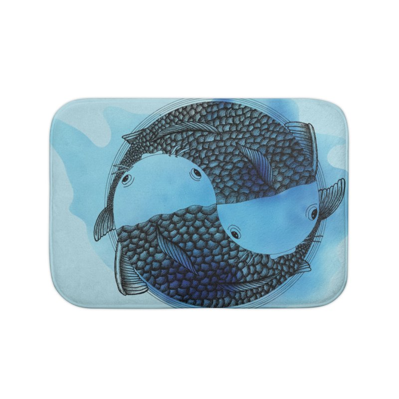 Pisces with blue water (zodiac sign) Home Bath Mat by Beatrizxe