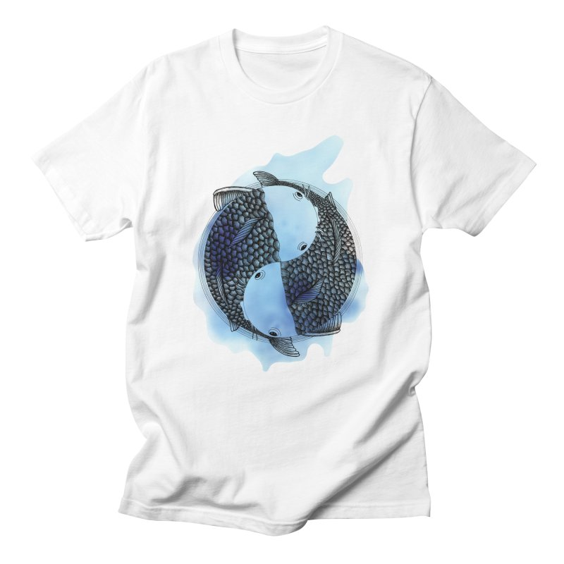 Pisces with blue water (zodiac sign) Men's T-Shirt by Beatrizxe