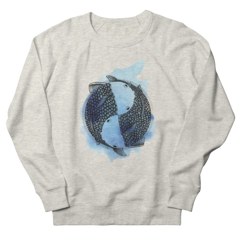 Pisces with blue water (zodiac sign) in Women's French Terry Sweatshirt Heather Oatmeal by Beatrizxe
