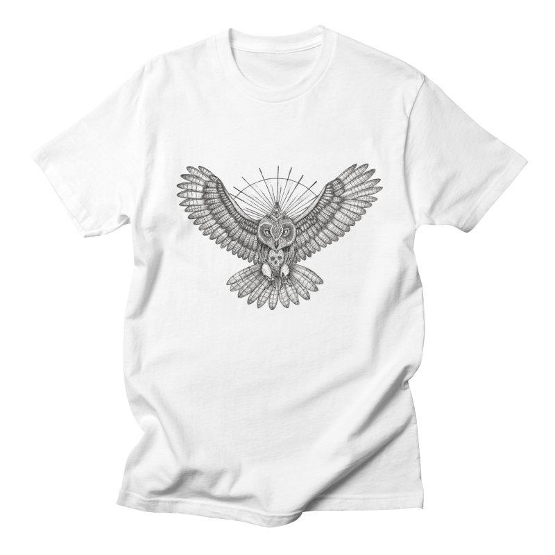 Mason owl (Black and white version) in Men's Regular T-Shirt White by Beatrizxe