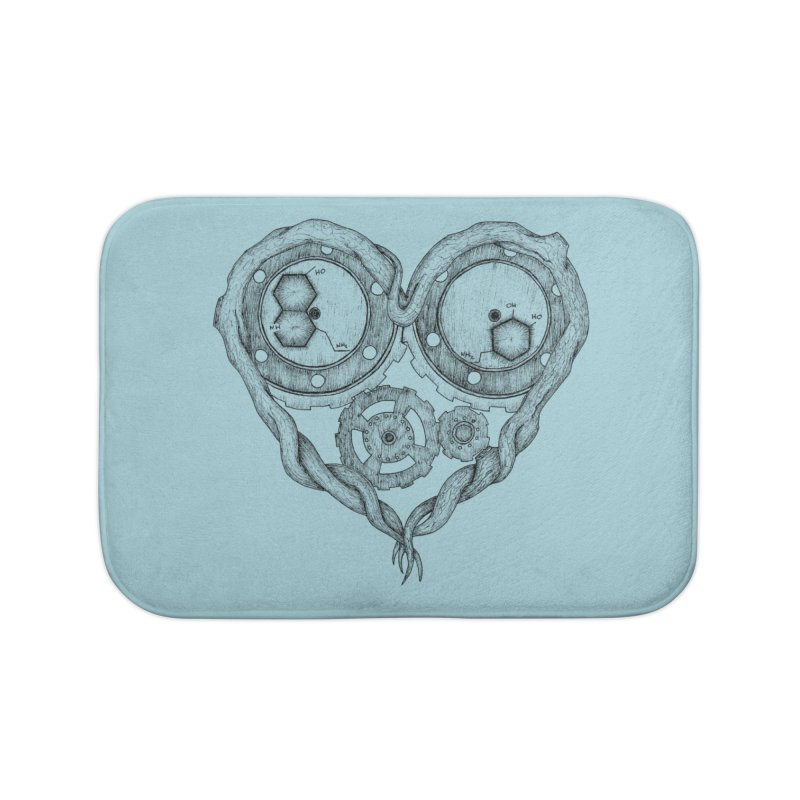 Chemistry of love: dopamine and serotonin formula (Black and white version) Home Bath Mat by Beatrizxe