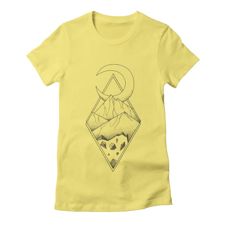 Geometric mountain - optical illusion (tattoo design) Women's Fitted T-Shirt by Beatrizxe