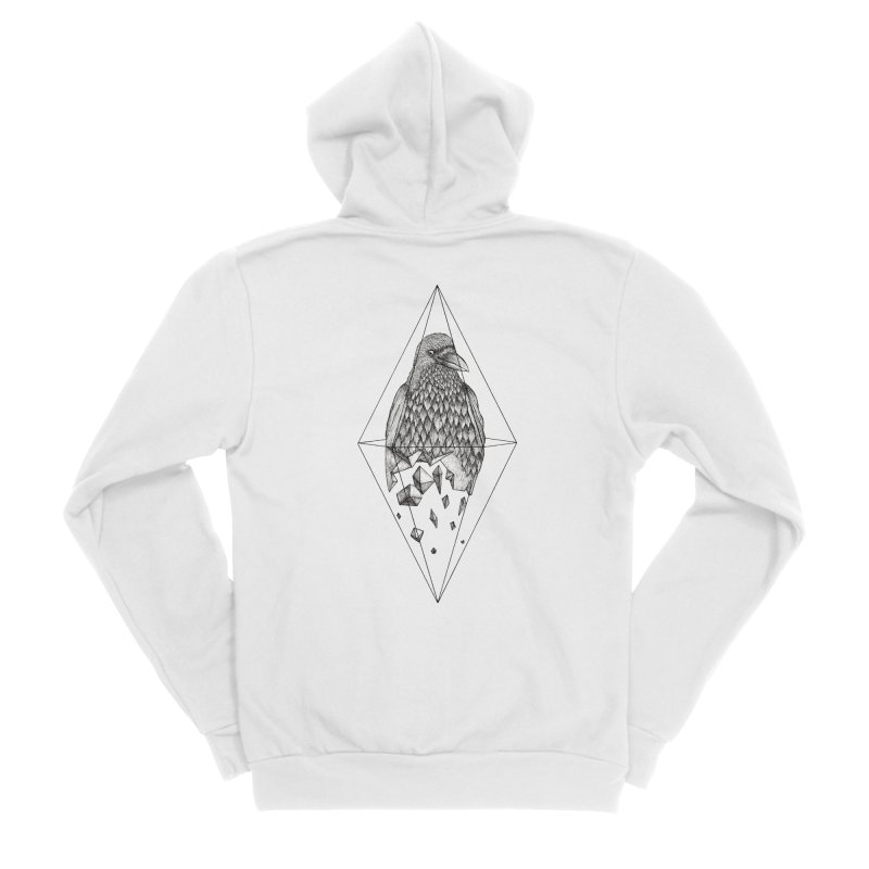 Geometric Crow in a diamond (tattoo style- Black and White version) Men's Zip-Up Hoody by Beatrizxe