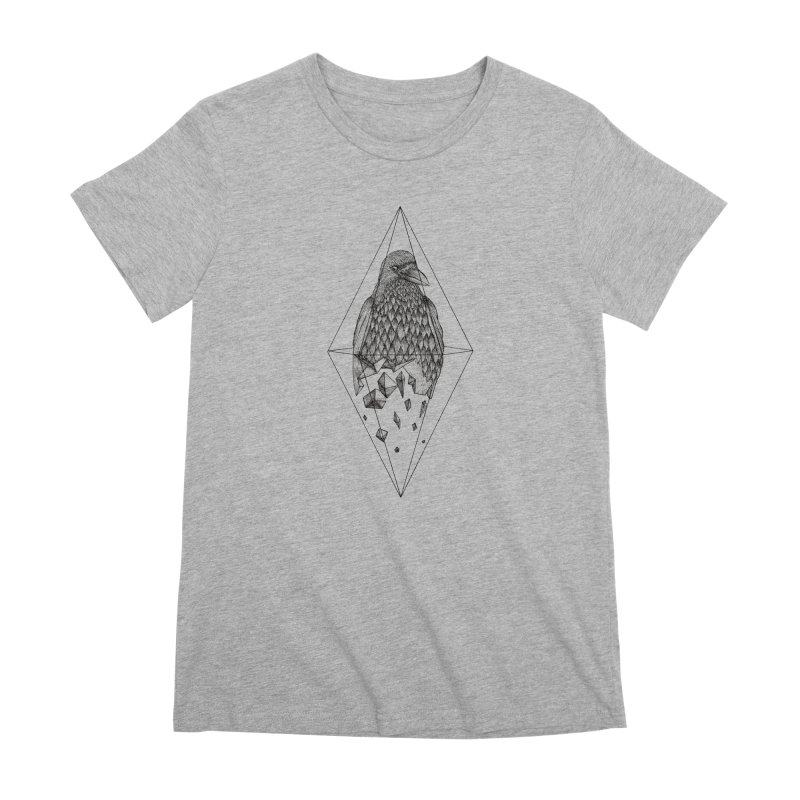 Geometric Crow in a diamond (tattoo style- Black and White version) Women's Premium T-Shirt by Beatrizxe