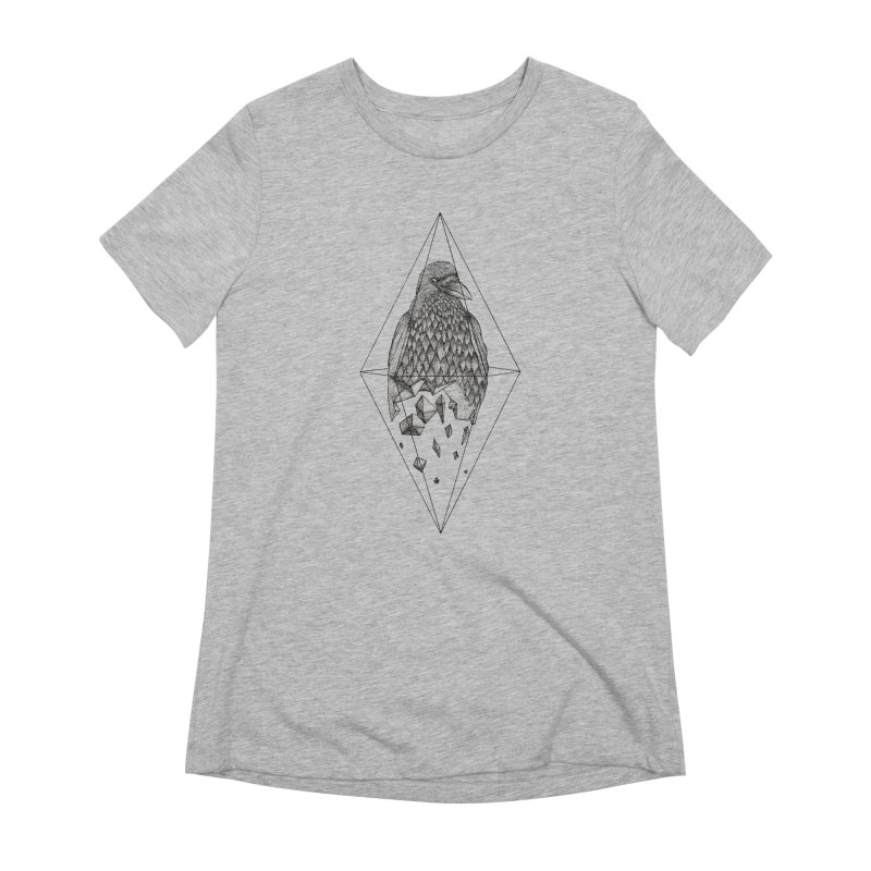 Geometric Crow in a diamond (tattoo style- Black and White version) Women's Extra Soft T-Shirt by Beatrizxe