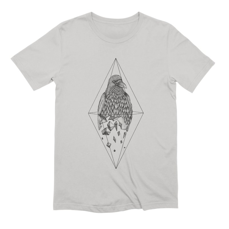 Geometric Crow in a diamond (tattoo style- Black and White version) Men's Extra Soft T-Shirt by Beatrizxe