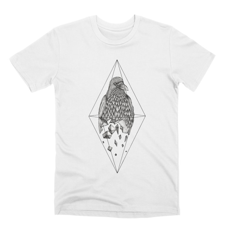 Geometric Crow in a diamond (tattoo style- Black and White version) Men's T-Shirt by Beatrizxe