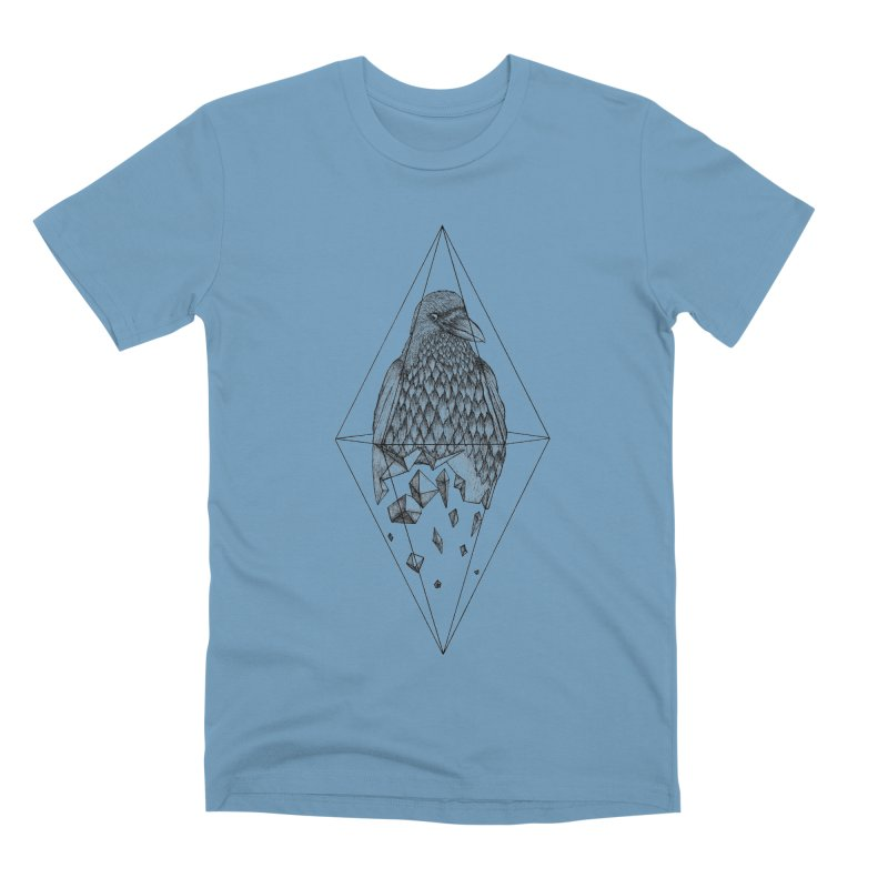 Geometric Crow in a diamond (tattoo style- Black and White version) Men's Premium T-Shirt by Beatrizxe