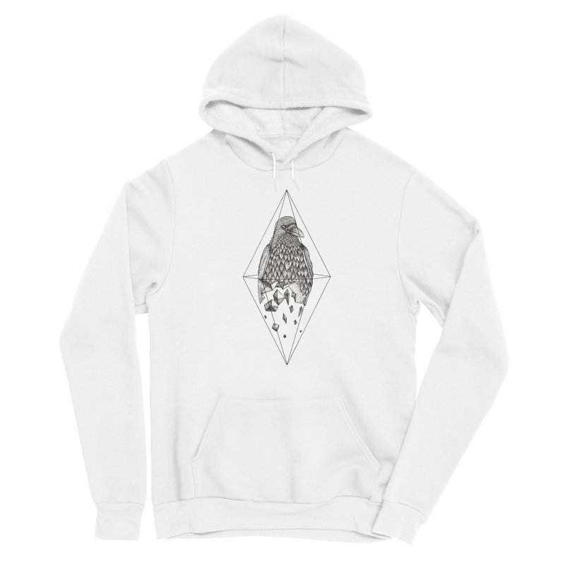 Geometric Crow in a diamond (tattoo style- Black and White version) Women's Sponge Fleece Pullover Hoody by Beatrizxe
