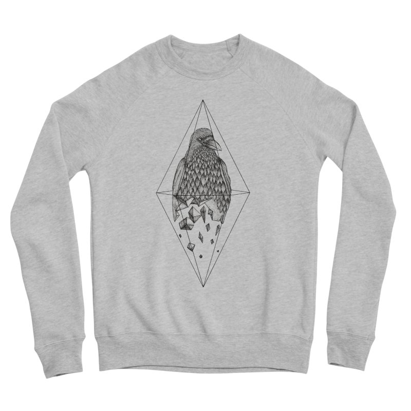 Geometric Crow in a diamond (tattoo style- Black and White version) Women's Sponge Fleece Sweatshirt by Beatrizxe