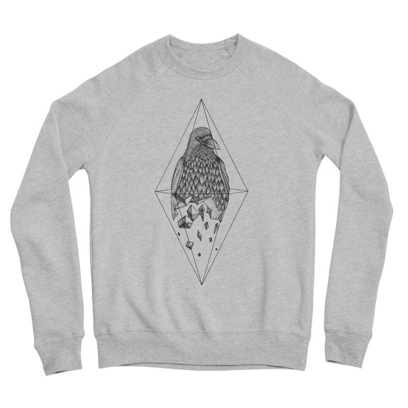 Geometric Crow in a diamond (tattoo style- Black and White version) Men's Sponge Fleece Sweatshirt by Beatrizxe