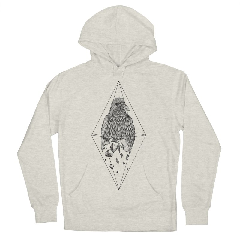 Geometric Crow in a diamond (tattoo style- Black and White version) Men's French Terry Pullover Hoody by Beatrizxe