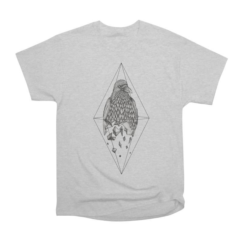 Geometric Crow in a diamond (tattoo style- Black and White version) Women's Heavyweight Unisex T-Shirt by Beatrizxe