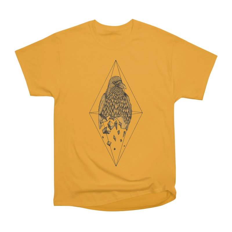 Geometric Crow in a diamond (tattoo style- Black and White version) Men's Heavyweight T-Shirt by Beatrizxe