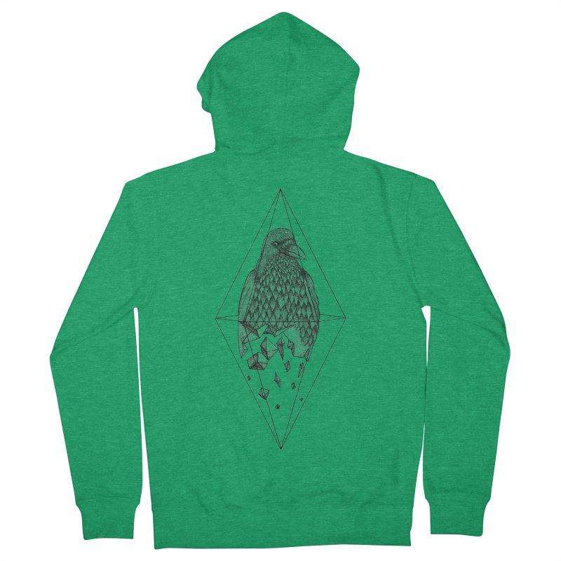 Geometric Crow in a diamond (tattoo style- Black and White version) Women's French Terry Zip-Up Hoody by Beatrizxe
