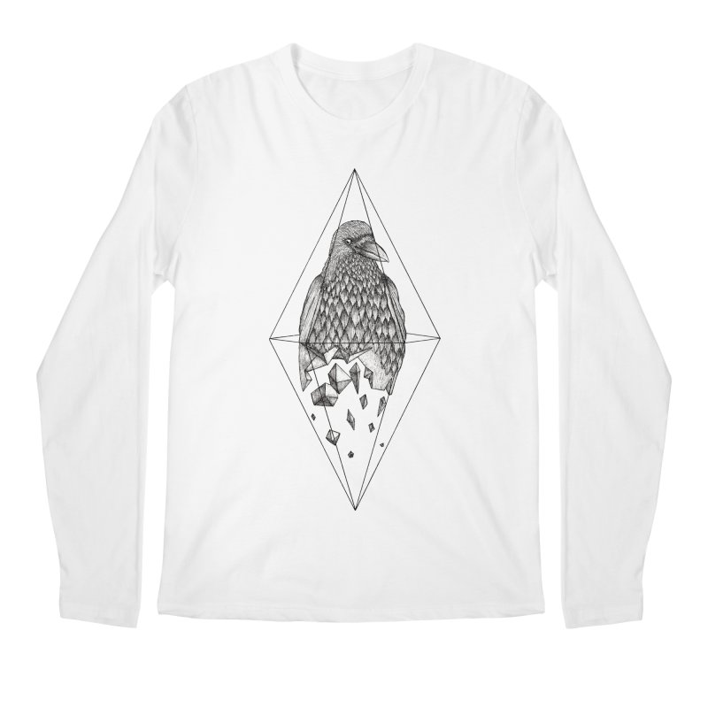 Geometric Crow in a diamond (tattoo style- Black and White version) Men's Regular Longsleeve T-Shirt by Beatrizxe