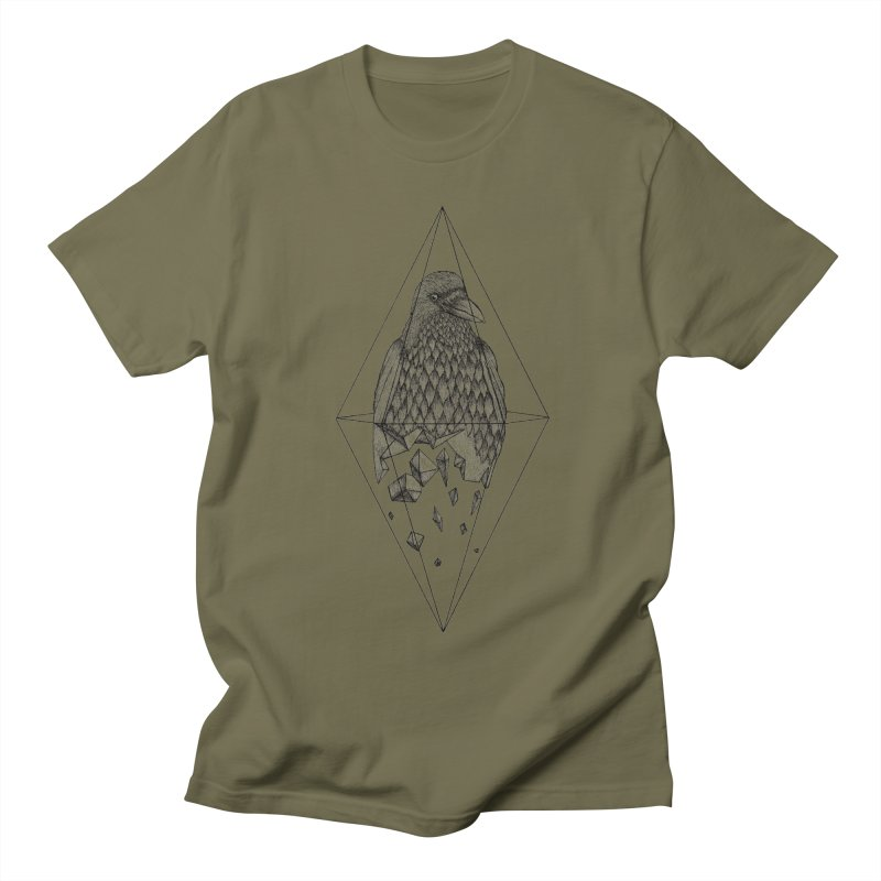 Geometric Crow in a diamond (tattoo style- Black and White version) Men's Regular T-Shirt by Beatrizxe