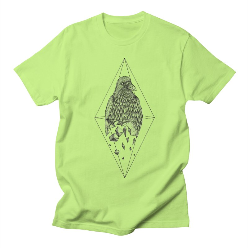 Geometric Crow in a diamond (tattoo style- Black and White version) Women's Regular Unisex T-Shirt by Beatrizxe