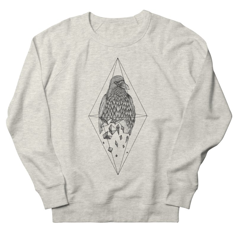 Geometric Crow in a diamond (tattoo style- Black and White version) Women's French Terry Sweatshirt by Beatrizxe