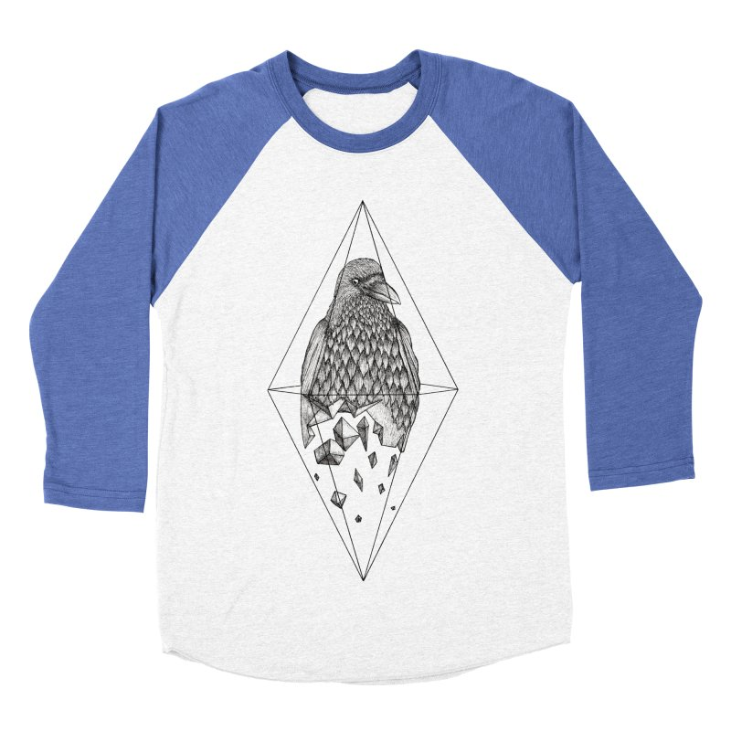 Geometric Crow in a diamond (tattoo style- Black and White version) Men's Baseball Triblend Longsleeve T-Shirt by Beatrizxe