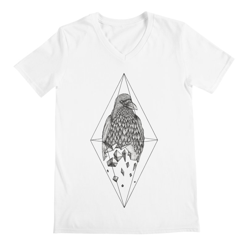 Geometric Crow in a diamond (tattoo style- Black and White version) Men's Regular V-Neck by Beatrizxe