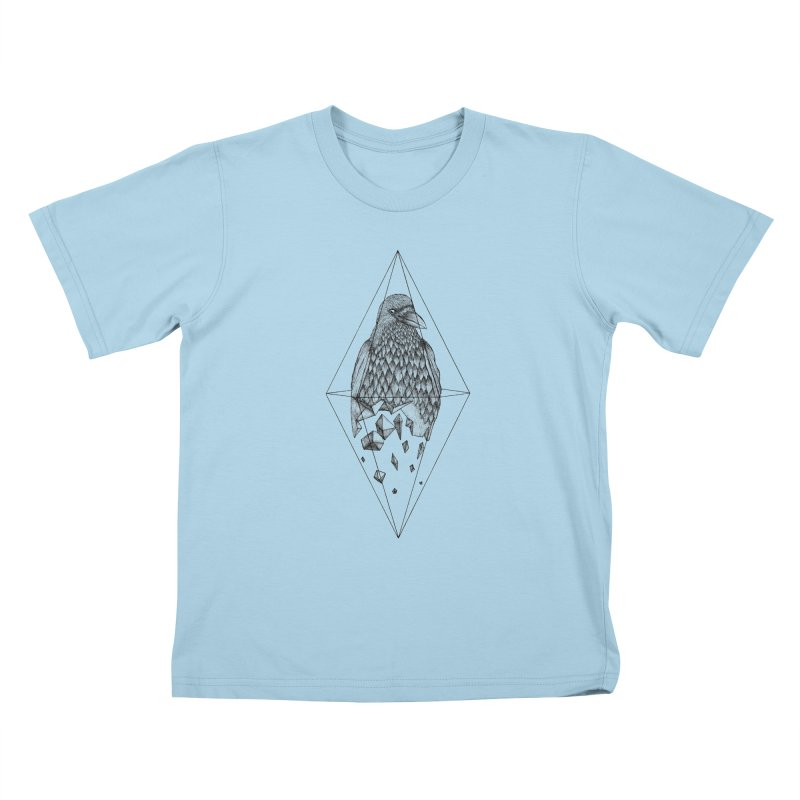Geometric Crow in a diamond (tattoo style- Black and White version) Kids T-Shirt by Beatrizxe