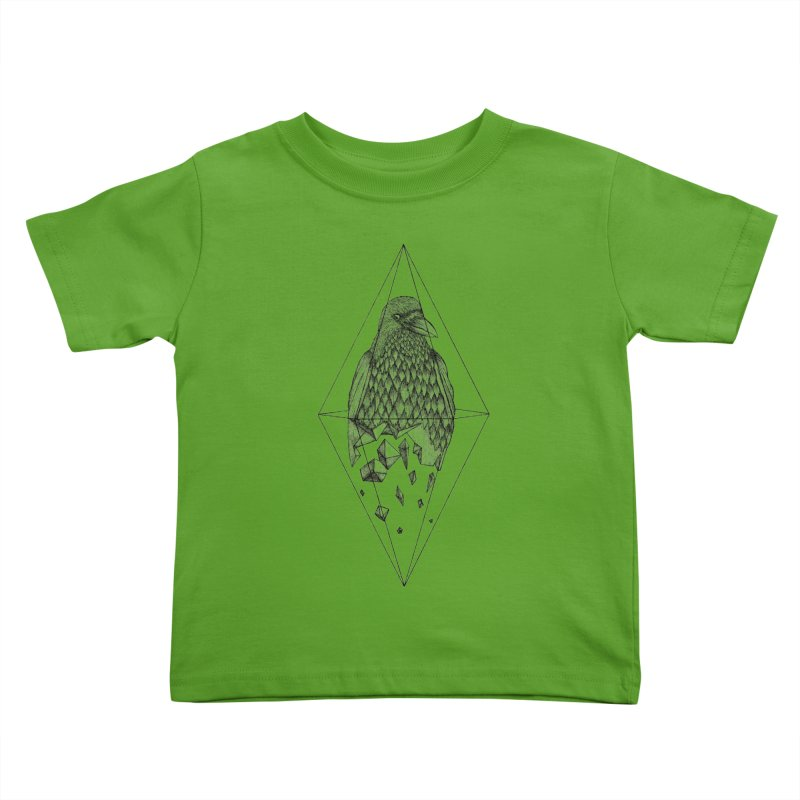 Geometric Crow in a diamond (tattoo style- Black and White version) Kids Toddler T-Shirt by Beatrizxe