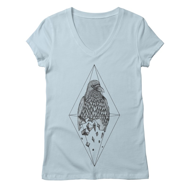 Geometric Crow in a diamond (tattoo style- Black and White version) Women's Regular V-Neck by Beatrizxe