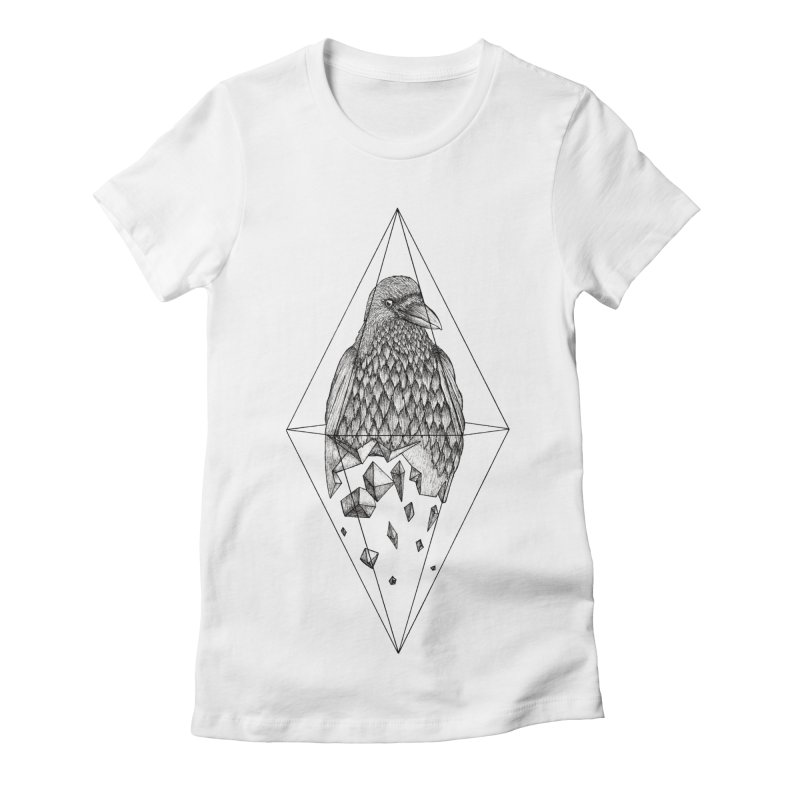 Geometric Crow in a diamond (tattoo style- Black and White version) Women's Fitted T-Shirt by Beatrizxe