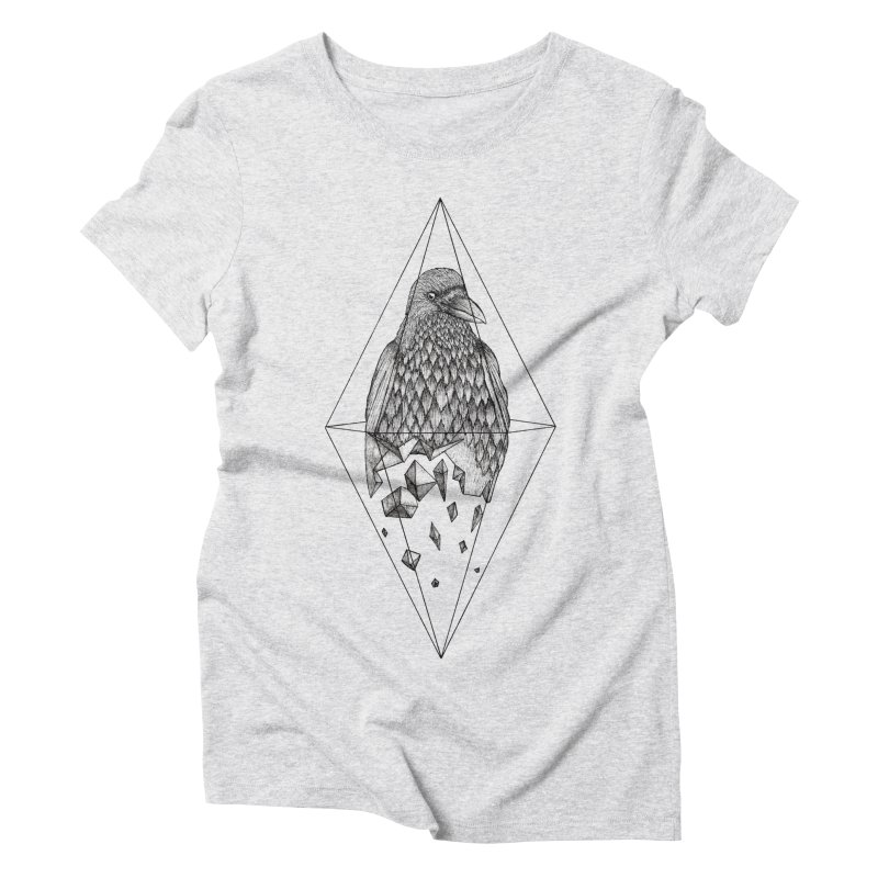 Geometric Crow in a diamond (tattoo style- Black and White version) Women's Triblend T-Shirt by Beatrizxe