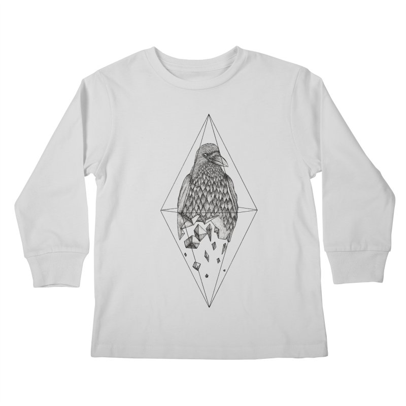 Geometric Crow in a diamond (tattoo style- Black and White version) Kids Longsleeve T-Shirt by Beatrizxe