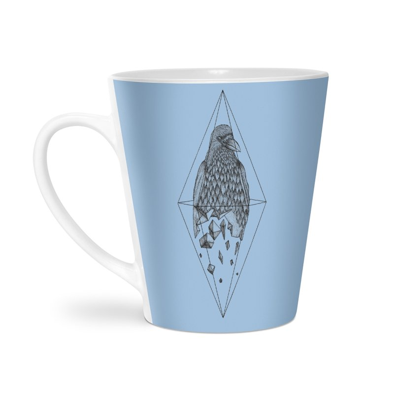 Geometric Crow in a diamond (tattoo style- Black and White version) Accessories Latte Mug by Beatrizxe