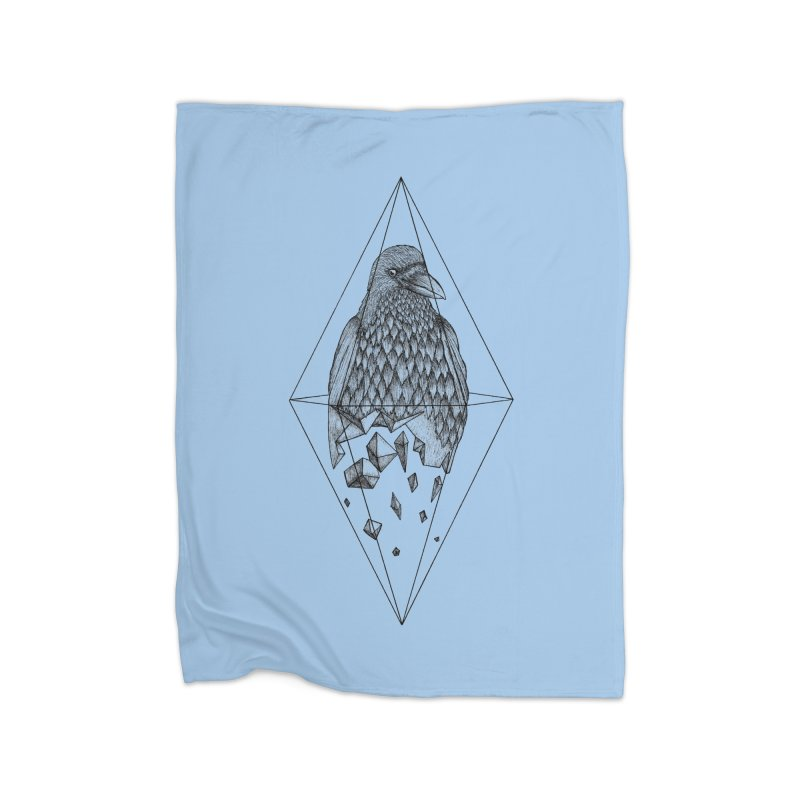 Geometric Crow in a diamond (tattoo style- Black and White version) Home Fleece Blanket Blanket by Beatrizxe