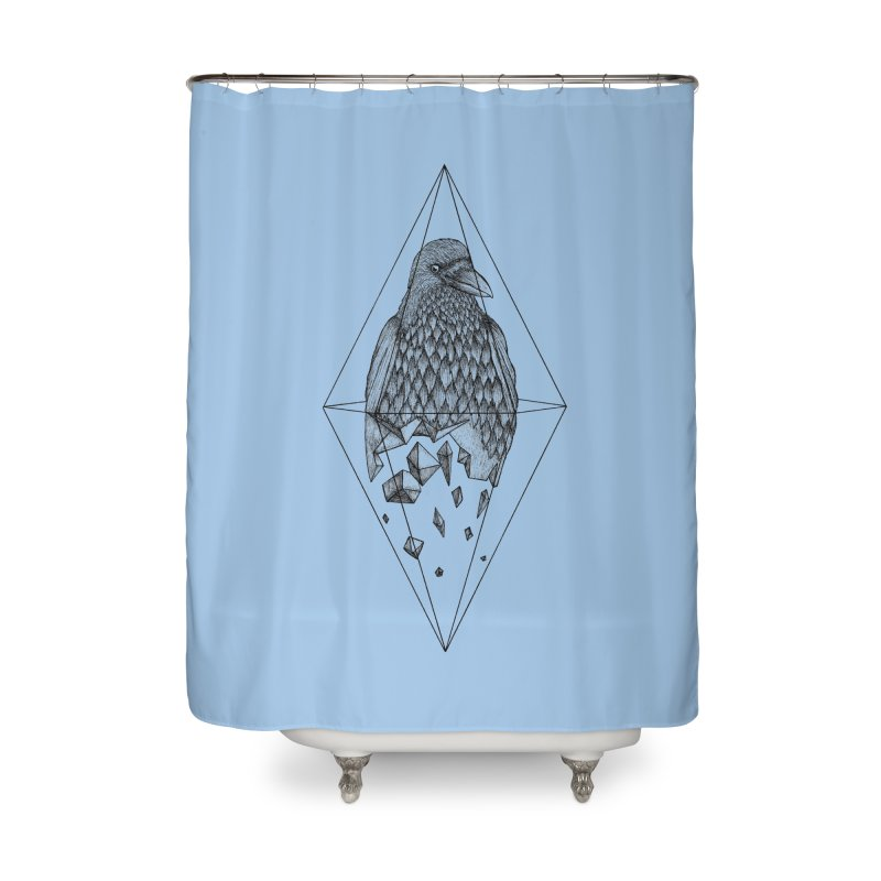 Geometric Crow in a diamond (tattoo style- Black and White version) Home Shower Curtain by Beatrizxe