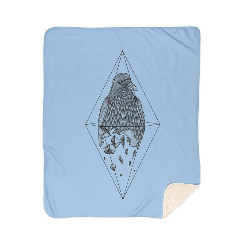 Geometric Crow in a diamond (tattoo style- Black and White version) Home Sherpa Blanket Blanket by Beatrizxe