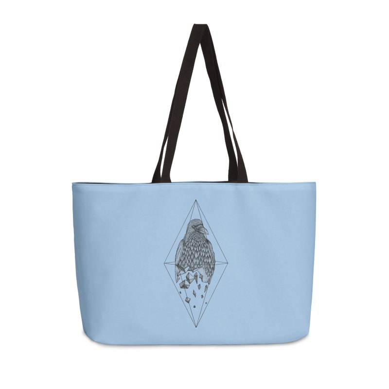 Geometric Crow in a diamond (tattoo style- Black and White version) Accessories Weekender Bag Bag by Beatrizxe