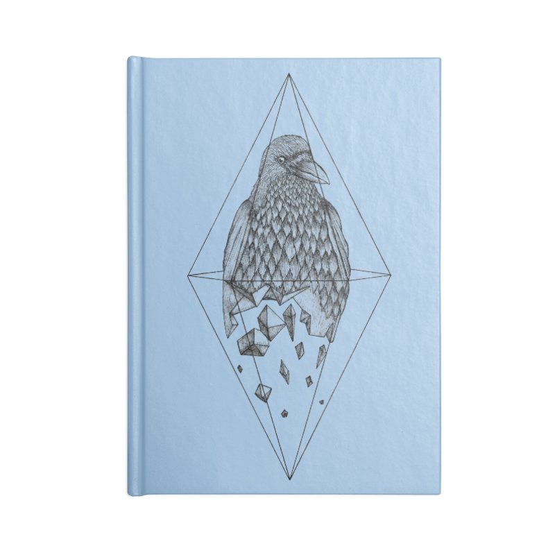Geometric Crow in a diamond (tattoo style- Black and White version) Accessories Lined Journal Notebook by Beatrizxe