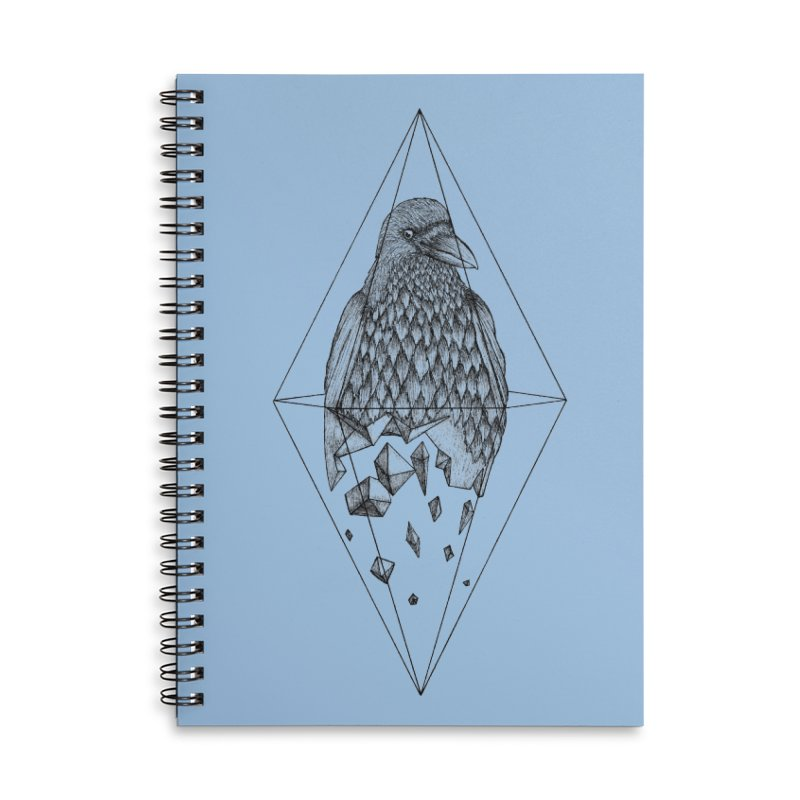Geometric Crow in a diamond (tattoo style- Black and White version) Accessories Lined Spiral Notebook by Beatrizxe