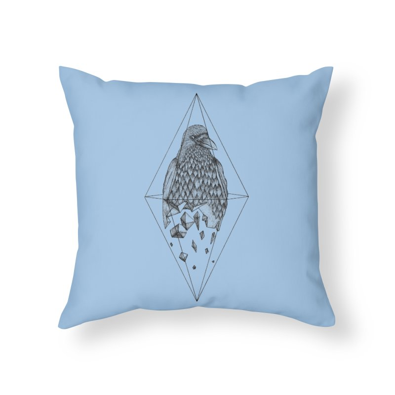 Geometric Crow in a diamond (tattoo style- Black and White version) Home Throw Pillow by Beatrizxe